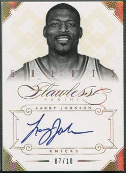 2012/13 Panini Flawless #4 Larry Johnson Greats Gold Auto #07/10