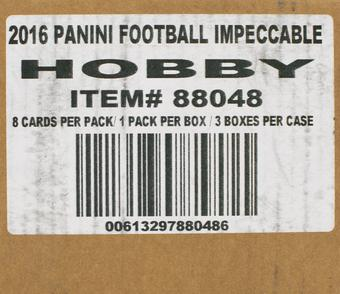 2016 Panini Impeccable Football Hobby 3-Box Case