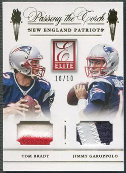 2015 Donruss Elite #PTMNEP Tom Brady & Jimmy Garoppolo Passing the Torch Patch #10/10