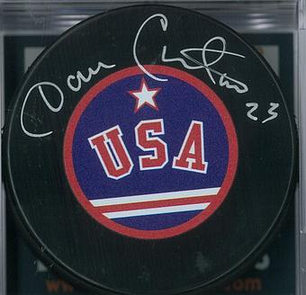 Dave Christian Autographed USA Hockey Puck Miracle on Ice
