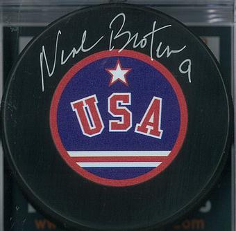 Neal Broten Autographed USA Miracle on Ice Hockey Puck