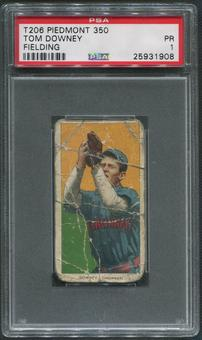 1909-11 T206 Baseball #145 Tom Downey Fielding Piedmont 350 PSA 1 (PR)