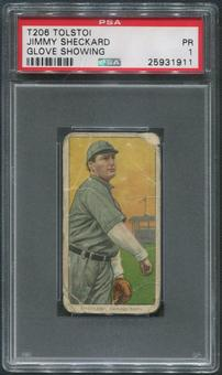 1909-11 T206 Baseball #442 Jimmy Sheckard Glove Showing Tolstoi PSA 1 (PR)