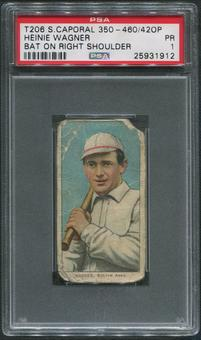 1909-11 T206 Baseball #496 Heinie Wagner Bat on Right Shoulder Sweet Caporal 350-460/420P PSA 1 (PR)