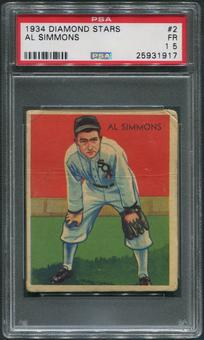1934-36 Diamond Stars Baseball #2 Al Simmons PSA 1.5 (FR)