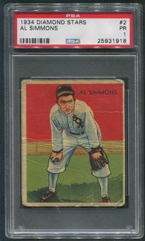 1934-36 Diamond Stars Baseball #2 Al Simmons PSA 1 (PR)