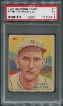 1934-36 Diamond Stars Baseball #3 Rabbit Maranville PSA 1 (PR)