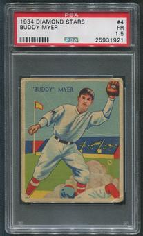 1934-36 Diamond Stars Baseball #4 Buddy Myer PSA 1.5 (FR)