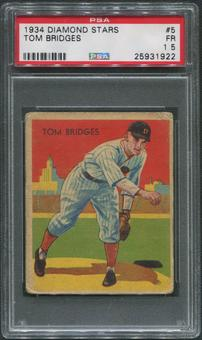 1934-36 Diamond Stars Baseball #5 Tommy Bridges PSA 1.5 (FR)
