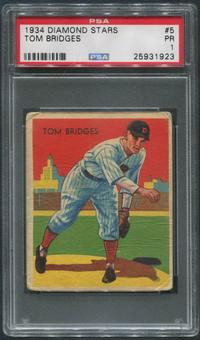 1934-36 Diamond Stars Baseball #5 Tommy Bridges PSA 1 (PR)