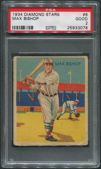 1934-36 Diamond Stars Baseball #6 Max Bishop PSA 2 (GOOD)