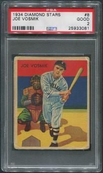 1934-36 Diamond Stars Baseball #8 Joe Vosmik XRC PSA 2 (GOOD)