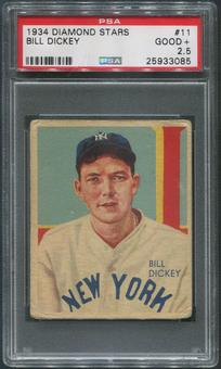 1934-36 Diamond Stars Baseball #11 Bill Dickey PSA 2.5 (GOOD+)