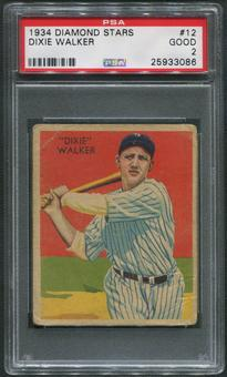 1934-36 Diamond Stars Baseball #12 Dixie Walker XRC PSA 2 (GOOD)