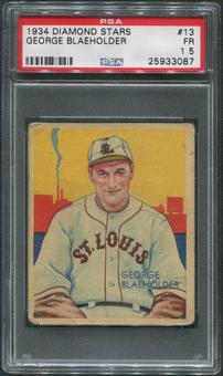 1934-36 Diamond Stars Baseball #13 George Blaeholder PSA 1.5 (FR)