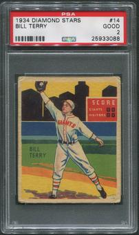 1934-36 Diamond Stars Baseball #14 Bill Terry PSA 2 (GOOD)