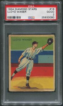 1934-36 Diamond Stars Baseball #16 Lloyd Waner PSA 2 (GOOD)