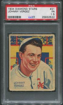 1934-36 Diamond Stars Baseball #21 Johnny Vergez PSA 1.5 (FR)