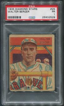 1934-36 Diamond Stars Baseball #25 Walter Berger PSA 1 (PR)
