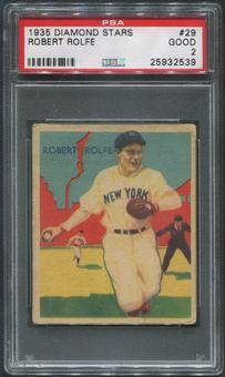 1934-36 Diamond Stars Baseball #29 Robert Red Rolfe PSA 2 (GOOD)