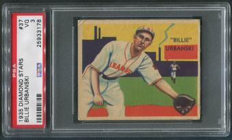1934-36 Diamond Stars Baseball #37 Billy Urbanski PSA 3 (VG)