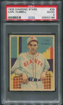 1934-36 Diamond Stars Baseball #39 Carl Hubbell PSA 2 (GOOD)