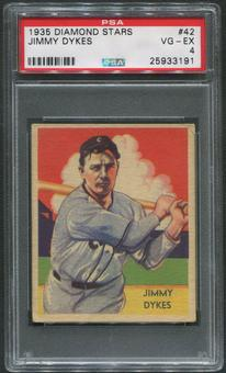 1934-36 Diamond Stars Baseball #42 Jimmy Dykes PSA 4 (VG-EX)