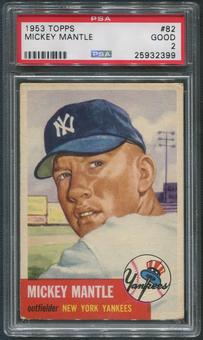 1953 Topps Baseball #82 Mickey Mantle PSA 2 (GOOD)