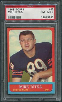 1963 Topps Football #62 Mike Ditka PSA 8 (NM-MT)