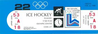 "1980 Team USA ""Miracle On Ice"" Game Ticket v. Russia Feb 22, 1980   Mike Eruzione & Jim Craig!!!"