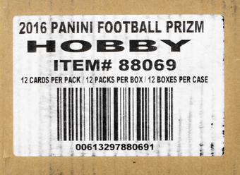 2016 Panini Prizm Football Hobby Jumbo 12-Box Case