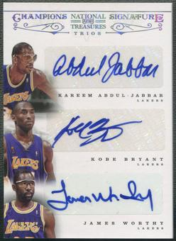 2012/13 Panini National Treasures #2 Kareem Abdul-Jabbar Kobe Bryant James Worthy Champions Auto #07/10