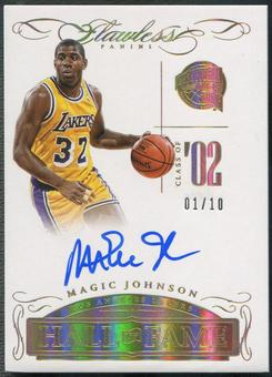 2014/15 Panini Flawless #2 Magic Johnson Hall of Fame Gold Auto #01/10