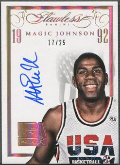2014/15 Panini Flawless #23 Magic Johnson USA Basketball White Auto #17/25
