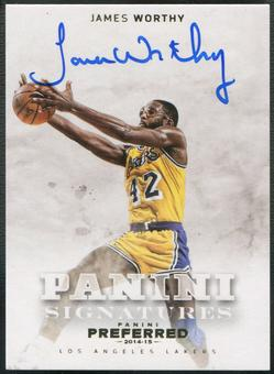 2014/15 Panini Preferred #476 James Worthy Gold Auto #08/10