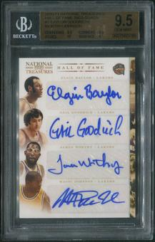 2010/11 National Treasures #2 Elgin Baylor Gail Goodrich James Worthy Magic Johnson HOF Quad Auto #2/5 BGS 9.5