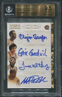 2010/11 National Treasures #2 Elgin Baylor Gail Goodrich James Worthy Magic Johnson HOF Quad Auto #5/5 BGS 9.5