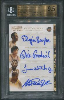 2010/11 National Treasures #2 Elgin Baylor Gail Goodrich James Worthy Magic Johnson HOF Quad Auto #3/5 BGS 9.5