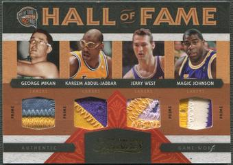 2009/10 Timeless Treasures #1 George Mikan Jerry West Kareem Abdul-Jabbar Magic Johnson HOF Quad Patch #2/5