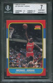 1986/87 Fleer Basketball #57 Michael Jordan Rookie BGS 7 (NEAR MINT)
