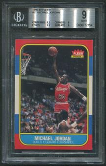 1986/87 Fleer Basketball #57 Michael Jordan Rookie BGS 9 (MINT)