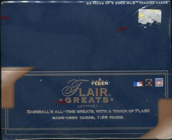 2003 Fleer Flair Greats Baseball Retail 24-Pack Box