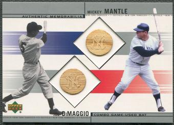 2002 Upper Deck #BDM Joe DiMaggio & Mickey Mantle Combo Bat