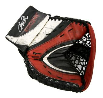 Ryan Miller CCM Catcher Autographed Game Used black red white