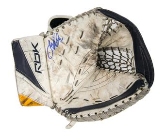 Ryan Miller RBK Catcher Autographed Game Used white blue yellow