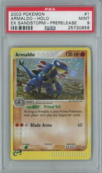 Pokemon EX Sandstorm Armaldo 1/100 Prerelease Single PSA 9