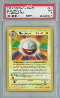 Pokemon Base Set Shadowless Electrode 21/102 Single PSA 7