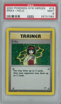 Pokemon Gym Heroes Erika 16/132 Single PSA 9