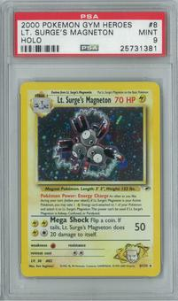 Pokemon Gym Heroes Lt. Surge's Magneton 8/132 Single PSA 9