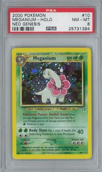 Pokemon Neo Genesis Meganium 10/111 Single PSA 8